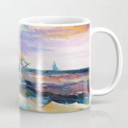 Fishing boats in the sea at sunset Coffee Mug