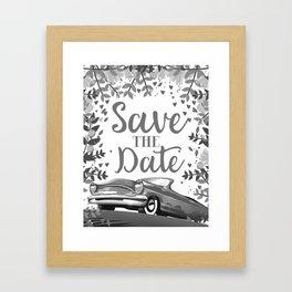 Save the Date vintage car ink art Framed Art Print
