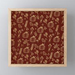 Fall Pumpkins & Leaves Pattern (Burnt Orange)) Framed Mini Art Print
