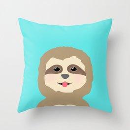 Baby Sloth Portrait Throw Pillow