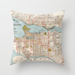 Vintage Greater Vancouver Area Map 1924 Throw Pillow