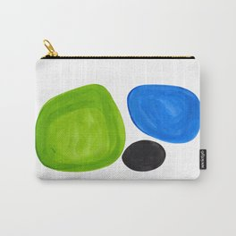 Mid Century Vintage Abstract Minimalist Colorful Pop Art Lime Green Phthalo Blue Black Bubbles Carry-All Pouch