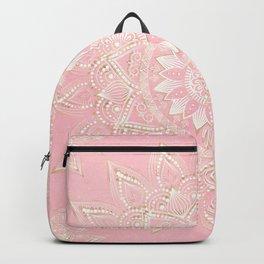 Elegant White & Gold Mandala Blush Pink Design Backpack