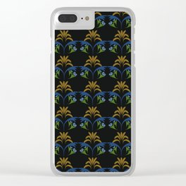 Black Wheat Floral Clear iPhone Case