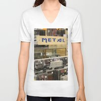 metal V-neck T-shirts featuring Metal by Bingz