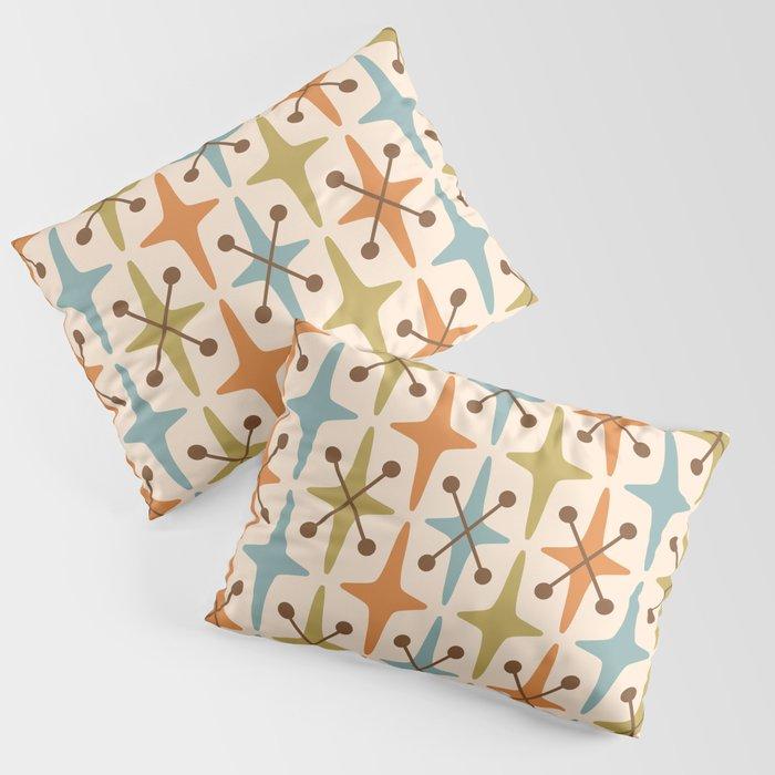 Mid Century Modern Abstract Star Pattern 441 Orange Brown Blue Olive Kissenbezug