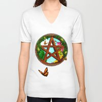 pagan V-neck T-shirts featuring Oasis Pagan Folk Art by BohemianBound