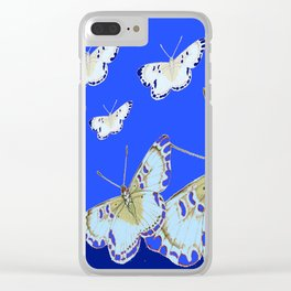 PATTERN OF BLUE & WHITE BUTTERFLIES MODERN ART Clear iPhone Case