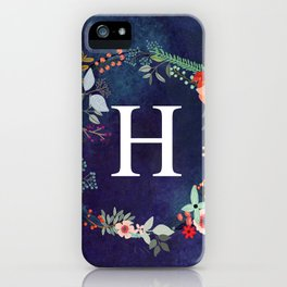 Personalized Monogram Initial Letter H Floral Wreath Artwork iPhone Case