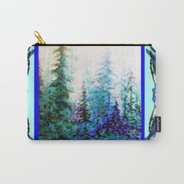 BLUE BUTTERFLIES BLUE BIRDS BLUE FOREST ART Carry-All Pouch