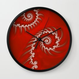 Red and White Striped Swirl - Fractal Art Wall Clock