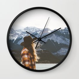 Self portrait at Barrier Lake Wall Clock