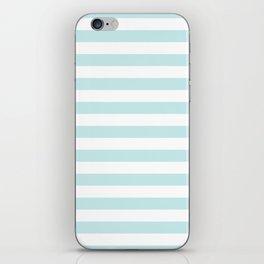 Duck Egg Pale Aqua Blue and White Wide Horizontal Beach Hut Stripe iPhone Skin