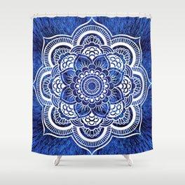 Mandala Blue Colorburst Shower Curtain