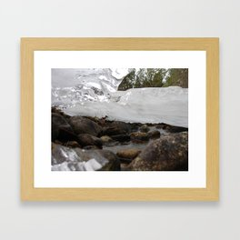 #406 BR CK UNDER ICE FORMATIONS, DAISY POND CRK BEFORE 1931 WOOD, ROCKS, ICE  Framed Art Print