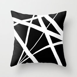 Geometric Line Abstract - Black White Throw Pillow