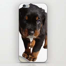 Cute Rottweiler Puppy Lapping Milk Vector iPhone Skin