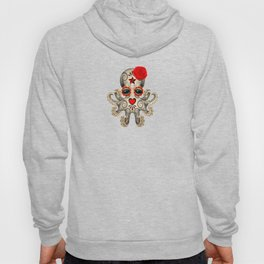 Red Day of the Dead Sugar Skull Baby Octopus Hoody