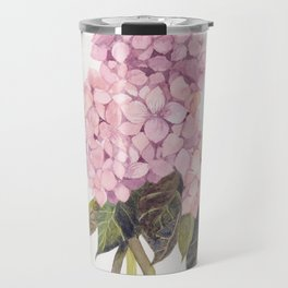 watercolor pink hydrangea Travel Mug