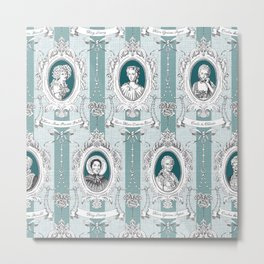Science Women Toile de Jouy - Teal Metal Print