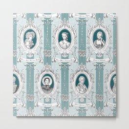 Science Women Toile de Jouy - Teal Metal Print