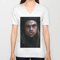 brad pitt V-neck T-shirts featuring Brad Pitt - 12 Monkeys - Monkey Wrench by Saint Genesis