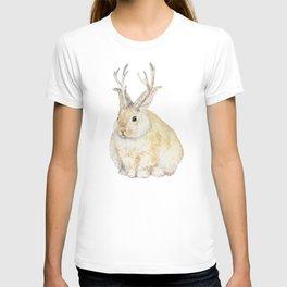 Watercolor Grumpy Jackalope Antler Bunny T-shirt