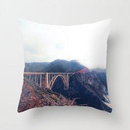 beautiful landscape at Bixby bridge, Big Sur, California, USA Throw Pillow