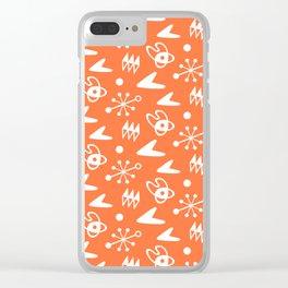 Mid Century Modern Atomic Boomerang Pattern Orange Clear iPhone Case