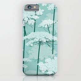 Queen Annes Lace Romance Pattern | Light Mint iPhone Case