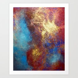 Red, Blue And Gold Modern Abstract Art Painting Art Print