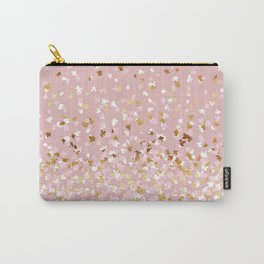 Floating Confetti - Pink Blush and Gold Carry-All Pouch