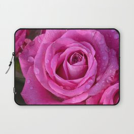 Pink rose close up with raindrops Laptop Sleeve