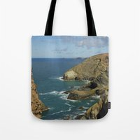 agnes cecile Tote Bags featuring Cornish Seascape St Agnes  by Cornish Seascapes