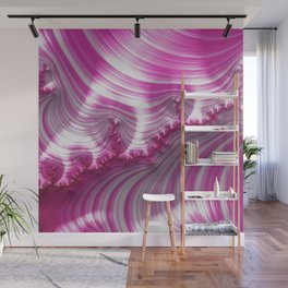Fractal Art-Pink Striped Candy Wall Mural