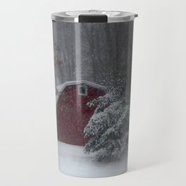 Red Barn in a Snow Storm Travel Mug