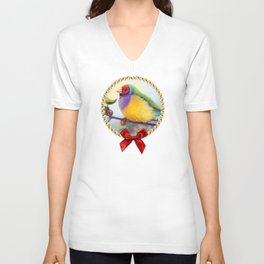 Gouldian finch realistic painting Unisex V-Neck