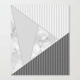 Valencia 4. Abstract grey, white geometric pattern. Canvas Print