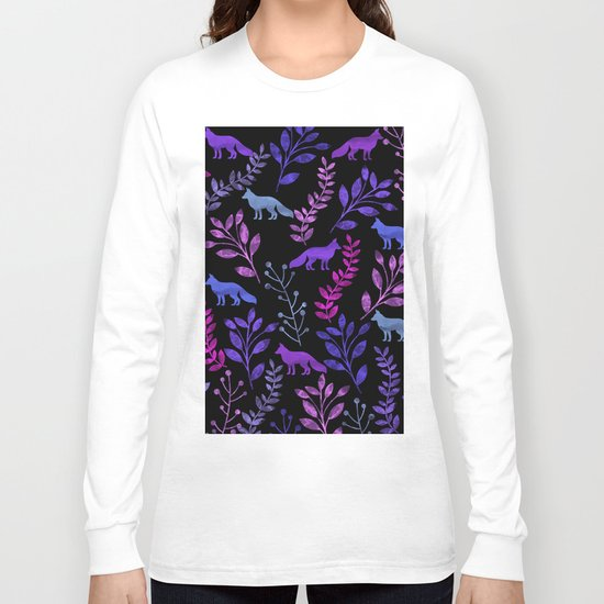 Watercolor Floral & Fox V Long Sleeve T-shirt