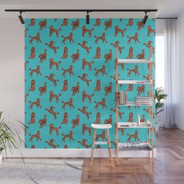 Chocolate Poodles Pattern  (Turquoise Background) Wall Mural