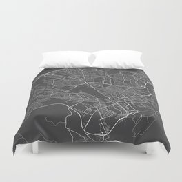 Cardiff Map, Wales - Gray Duvet Cover