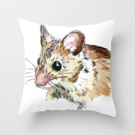 Little Brown Mouse Throw Pillow