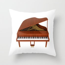 Grand Piano with Wood Finish Throw Pillow
