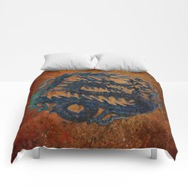 Blue Chinese Dragon on Stone Background Comforters