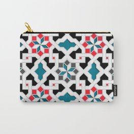 Oriental Pattern - Geometric Design, red / blue / grey Carry-All Pouch