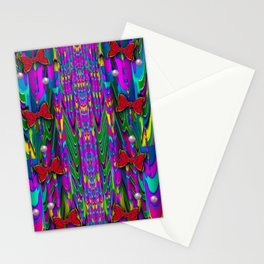 Butterflies and pearls in the rainbow forest Stationery Cards