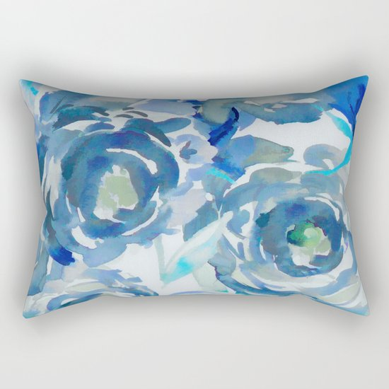 Sky Blue Painterly Floral Abstract Rectangular Pillow