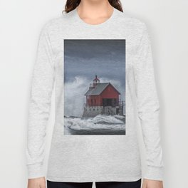 Grand Haven Lighthouse in a November Storm on Lake Michigan Long Sleeve T-shirt
