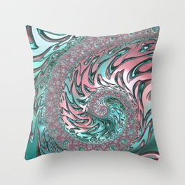 Coral and Teal Spiral Throw Pillow
