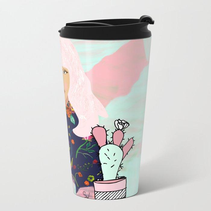 Pink Hair Don't Care I Metal Travel Mug